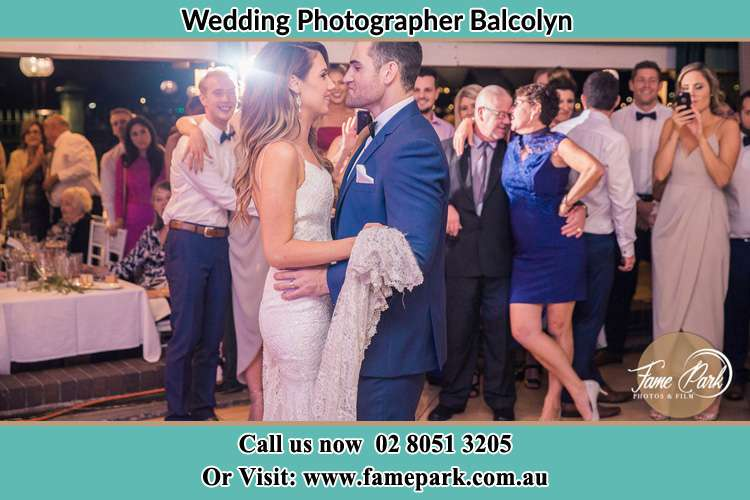Photo of bride and groom dancing at the wedding reception Balcolyn