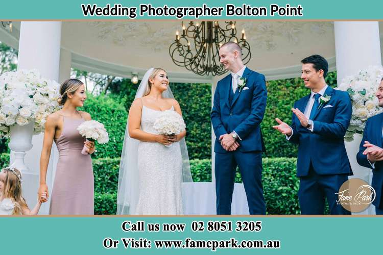 Photo of the Groom and the Bride with the entourage Bolton Point NSW 2283