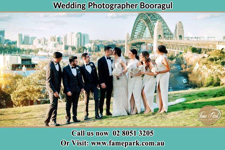 Photo of the Groom and the Bride with the entourage near the bridge Booragul NSW 2284
