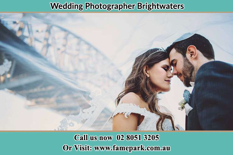 Close up photo of the Bride and the Groom under the bridge Brightwaters NSW 2264