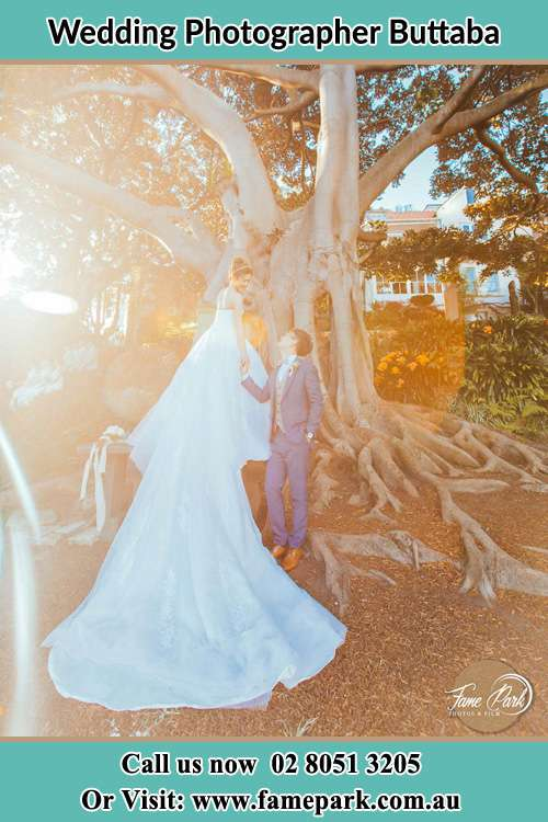 Photo of the Bride and the Groom looking each other besides the tree Buttaba NSW 2283