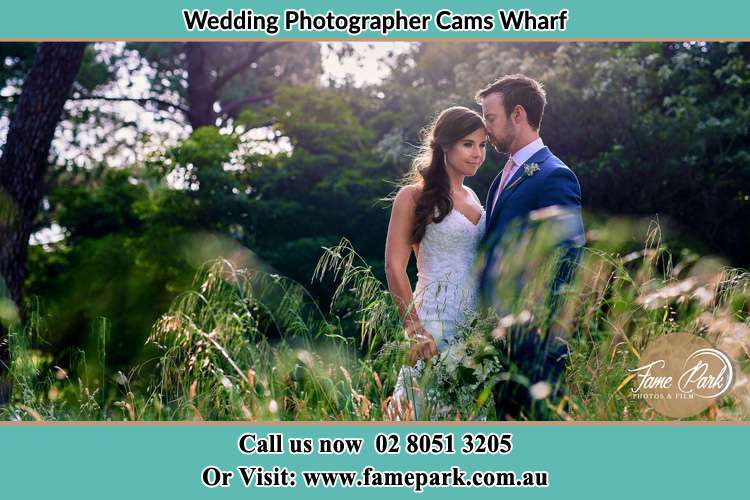 The Groom and the Bride in the garden Cams Wharf