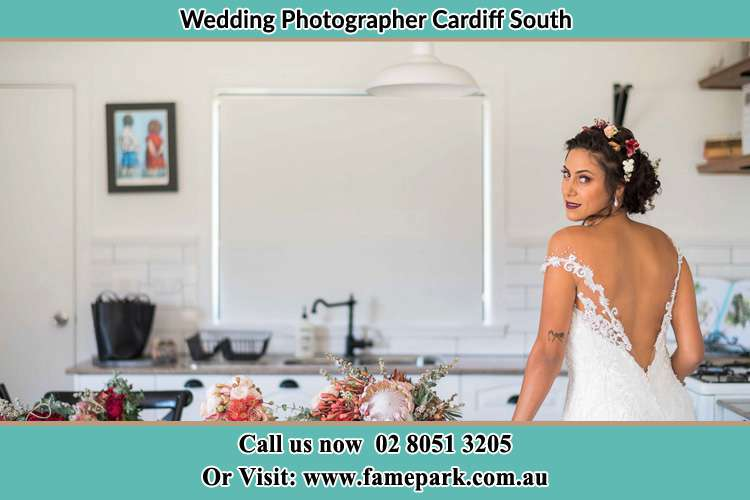 The Bride looked back to pose for the camera Largs Cardiff South