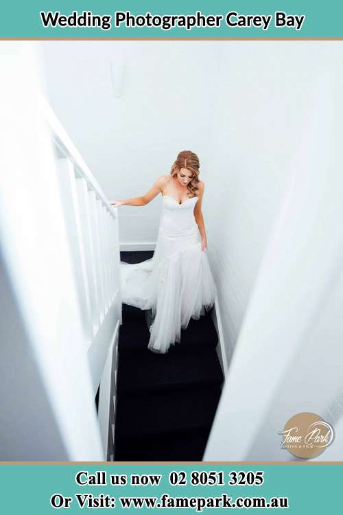 Photo of the Bride going down the stair Carey Bay NSW 2283