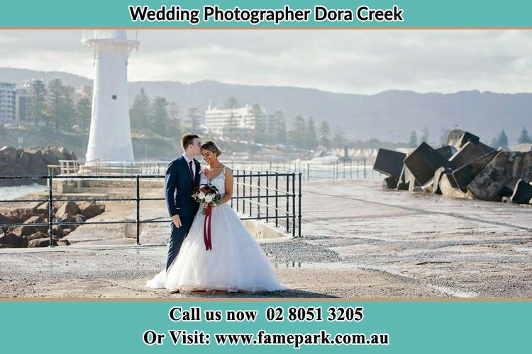 Photo of the Bride and Groom at the Watch Tower Croudace Bay NSW 2280