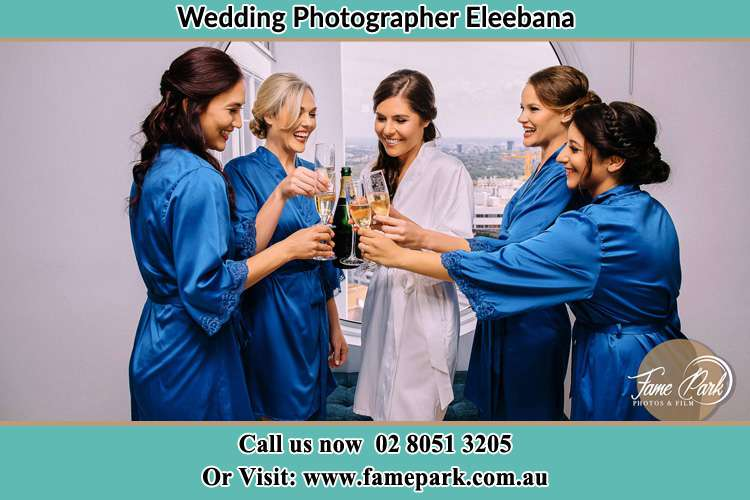 Photo of the Bride and the bridesmaids having wine Eleebana NSW 2282