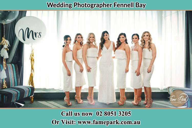 The Bride and her bridesmaids posed for the camera Fennell Bay