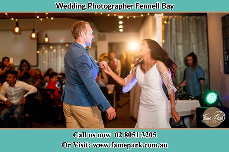 Photo of the Groom and the Bride dancing Fennell Bay NSW 2283