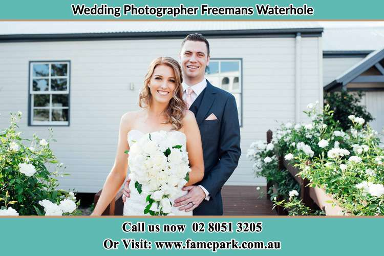 Photo of the Bride and the Groom at the front house Freemans Waterhole NSW 2323