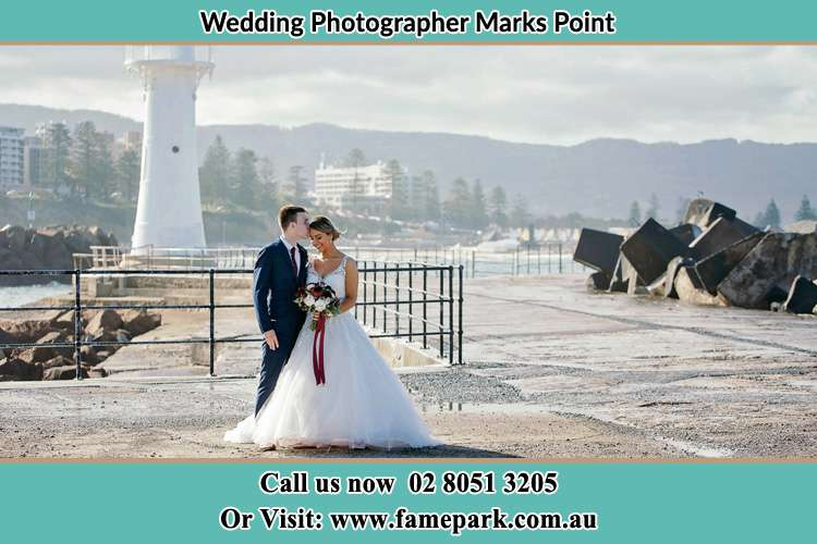 Bride and Groom near the watch tower Marks Point