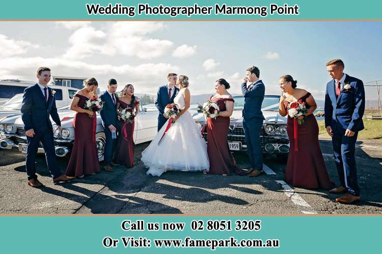 Bride, Groom and their secondary sponsors at the car park Marmong Point