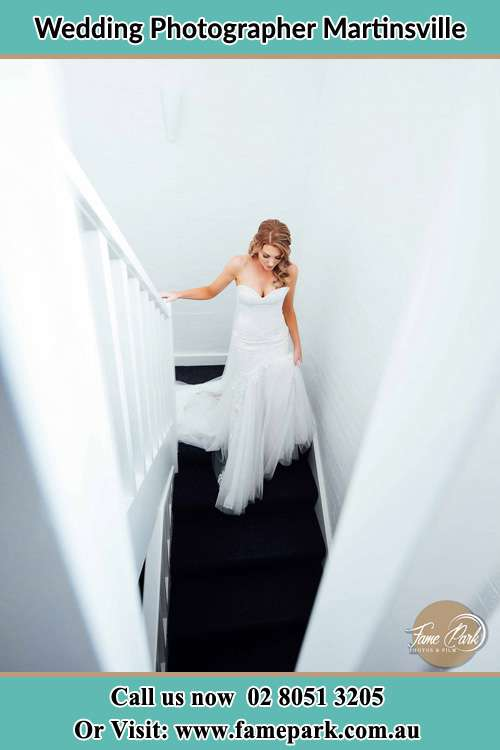 Bride walking down the stairs Martinsville