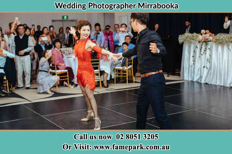 Photo of the Bride and the Groom dancing on the dance floor Mirrabooka NSW 2264