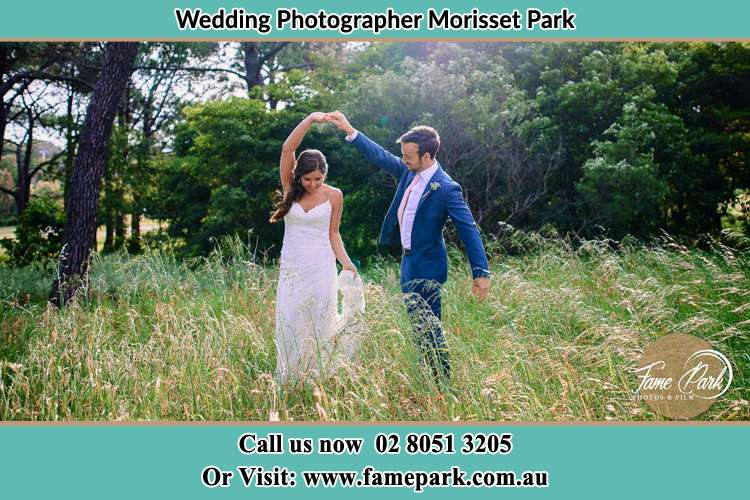 Bride and Groom Dance up the hill Morisset Park