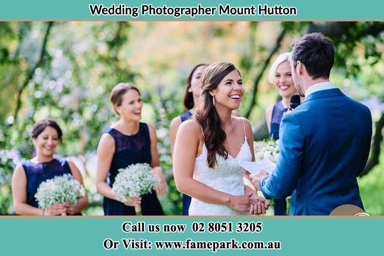 Photo of the Groom testifying love to the Bride Mount Hutton NSW 2290