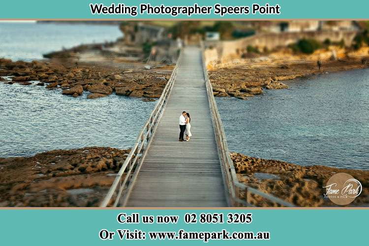 Photo of the Groom and the Bride at the bridge Speers Point NSW 2284