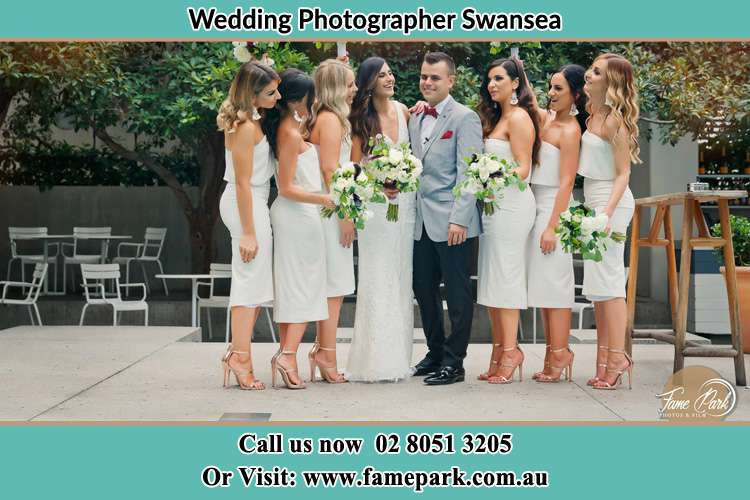The Bride and Groom with their Bride's maids Swansea