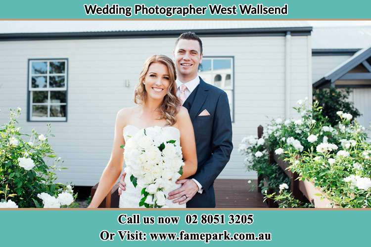 Photo of the Bride and the Groom at the front house West Wallsend NSW 2286