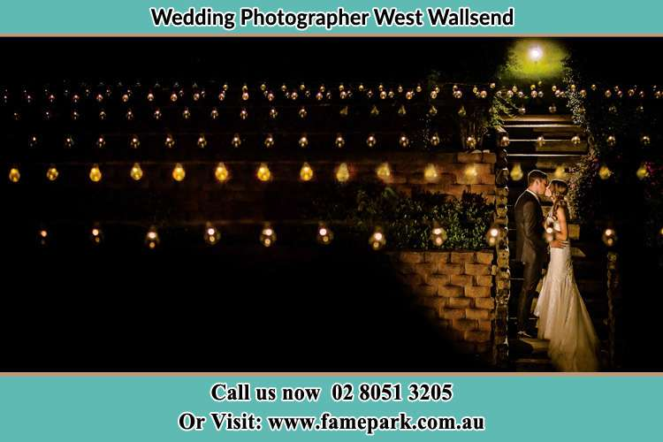 Bride and groom at the garden during night time West Wallsend
