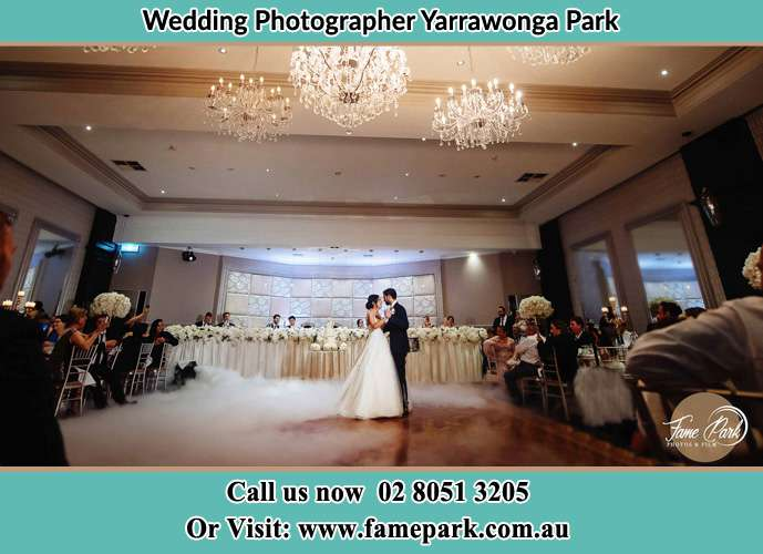 Photo of the Bride and the Groom dancing on the dance floor Yarrawonga Park NSW 2264